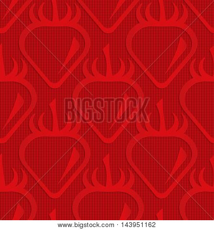 Red Strawberry On Checkered Background