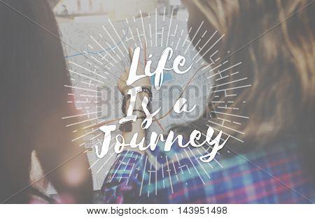 Life is a Journey Explore Trip Destination Traveling Adventure Concept