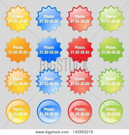 Pisces Zodiac Sign Icon Sign. Big Set Of 16 Colorful Modern Buttons For Your Design. Vector