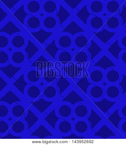 Retro 3D Bright Blue Waves And Circles