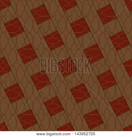 Retro 3D Brown Stripes Crossed