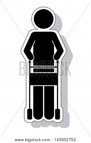 hiker disable person isolated icon vector illustration design