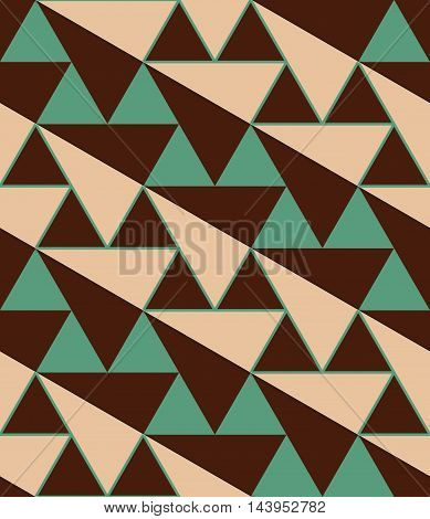 Retro 3D Green And Brown Diagonal Triangles