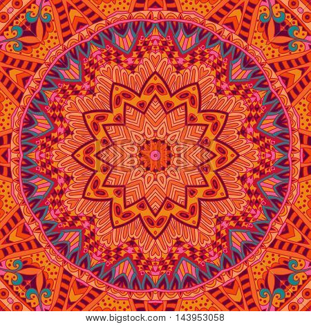 Abstract Tribal round orange ethnic seamless pattern ornamental