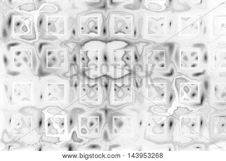 Abstract monochrome geometric grunge background. Fantasy metallic fractal texture in black and white colors. Digital art. 3D rendering.