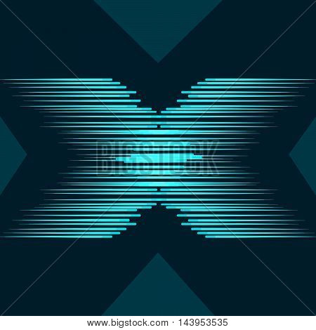 abstract Blue letter X on dark background. Vector abstract letter X. Line and movement on the background.