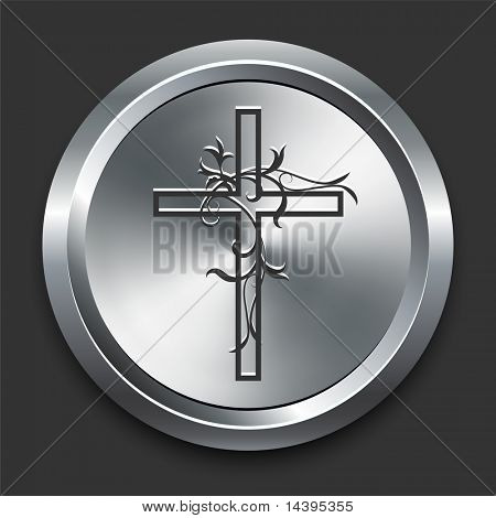Religious Cross Icon on Metal Internet Button Original Vector Illustration