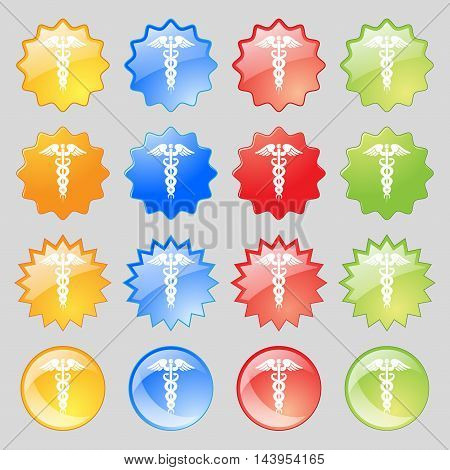 Medicine Icon Sign. Big Set Of 16 Colorful Modern Buttons For Your Design. Vector