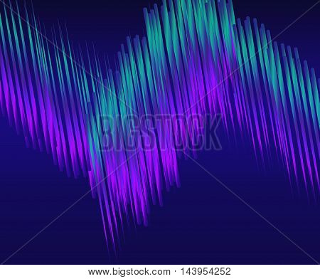 Blue-green light Line on dark abstract background. Bright Line moving. Vector illustration of wave of lines. Northern lights.