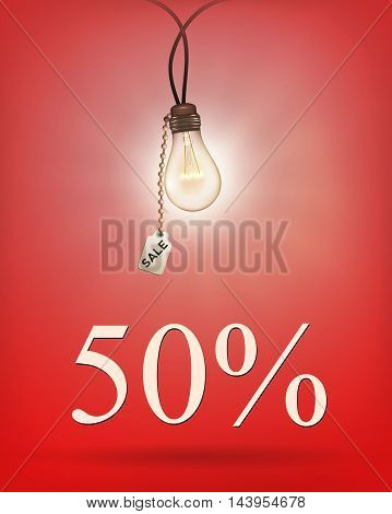 Sale idea background with lamp. Vector illustration