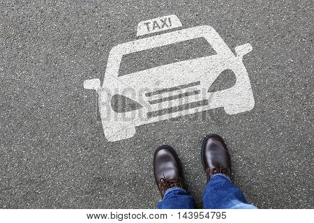 Man People Taxi Cab Icon Sign Logo Car Vehicle Street Road Traffic Town City Mobility
