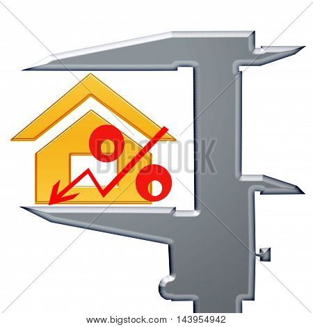 Red percent sign and Measuring tool . The concept of price changes on the real estate market .