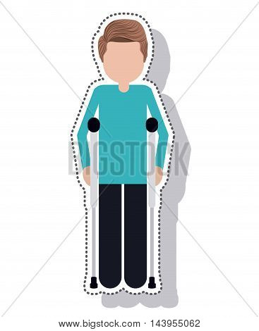 man disable in crutch isolated icon vector illustration design