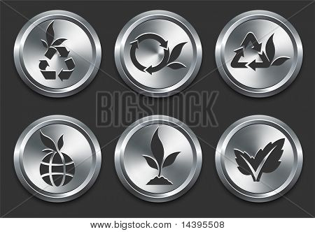 Environmental Icons on Metal Internet Button Original Vector Illustration