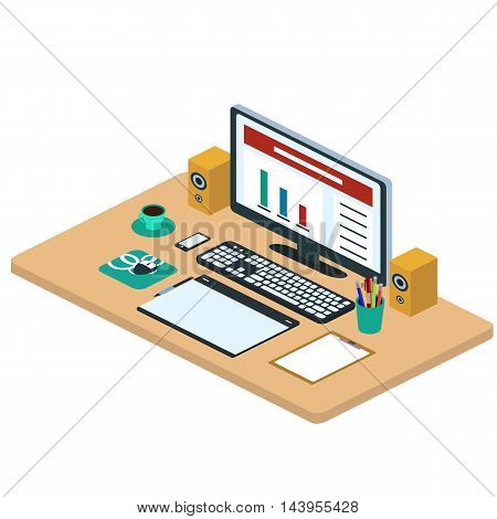 Illustration of modern creative office workspace, workplace with computer. The office of a creative worker. Computer, smartphone, graphic tablet, coffee mug, pencils. Isometric