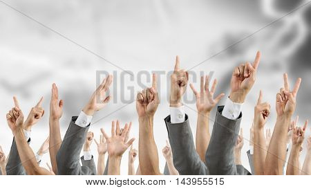Hand gestures in arow