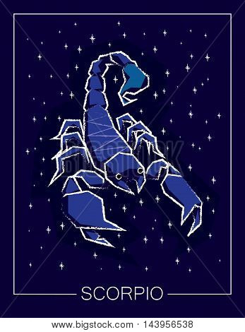 Zodiac sign Scorpio on night starry sky background. Vector illustration.