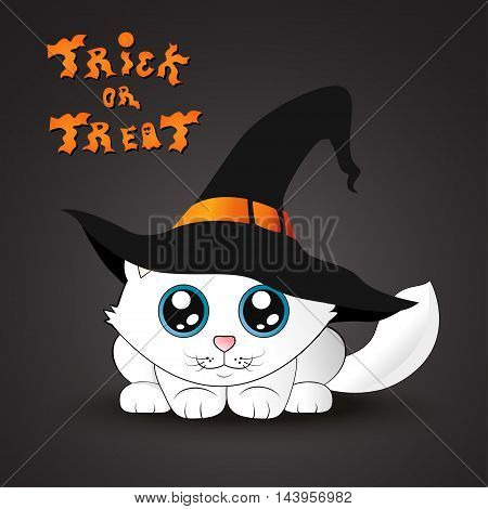Halloween cat. White kitten in the witch hat. Trick or treat lettering. Halloween card.