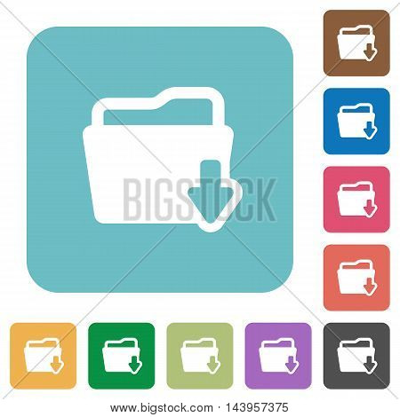 Flat download folder icons on rounded square color backgrounds.