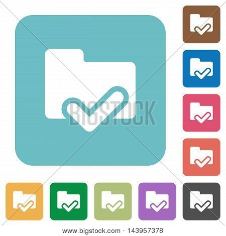 Flat folder ok icons on rounded square color backgrounds.