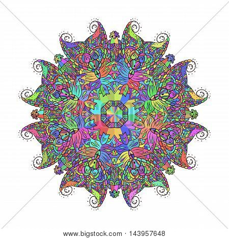 Abstract floral doodle background pattern. A circular ornament. Vector illustration