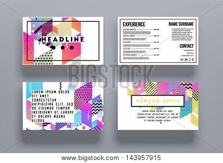 Business cards set templates, Leaflet cover presentation, Flyer abstract flat background design, vector.