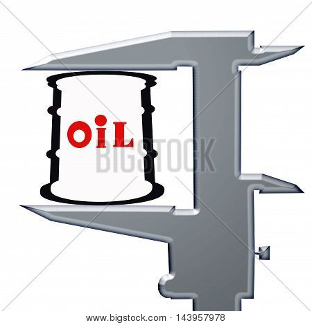 Barrel for oil and a measuring tool . The concept of price changes on the oil market .