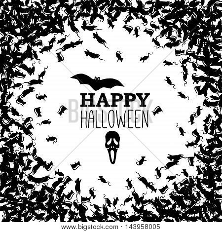 Happy Halloween banner with black rats but and skull. Vector background.