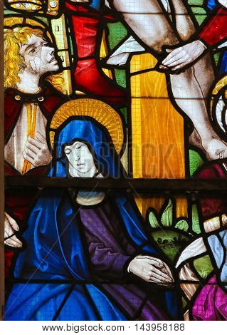Stained Glass In Batalha Monastery - John The Evangelist And Mother Mary