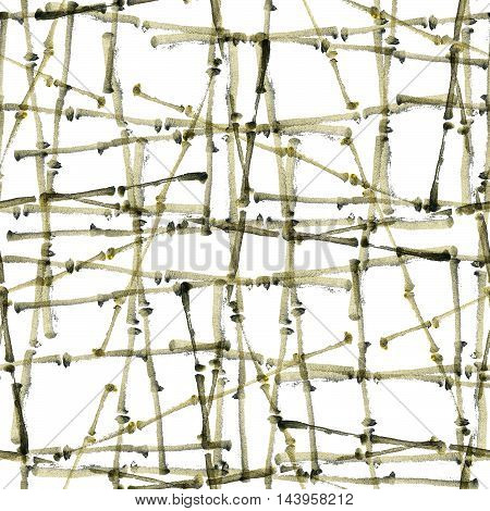 Watercolor and ink abstract illustration of bamboo. Sumi-e painting. Seamless pattern texture.