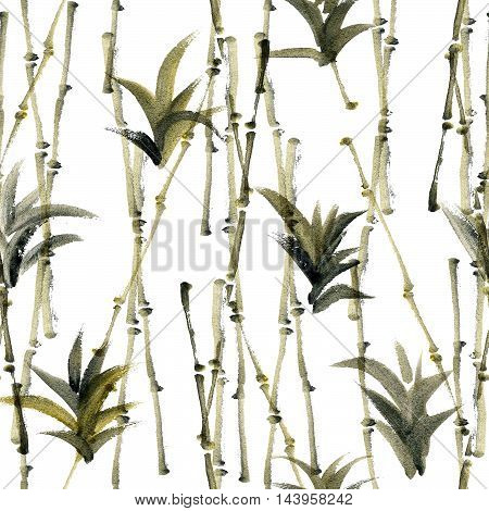Watercolor and ink abstract illustration of bamboo and agave. Sumi-e painting. Seamless pattern texture.