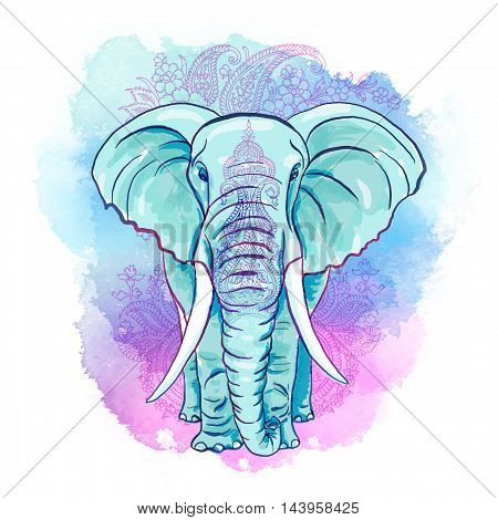 Decorative Elephant on the Watercolor Blot and ornament