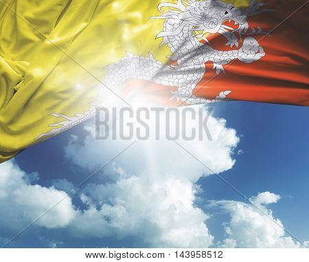 Bhutan flag on a beautiful day