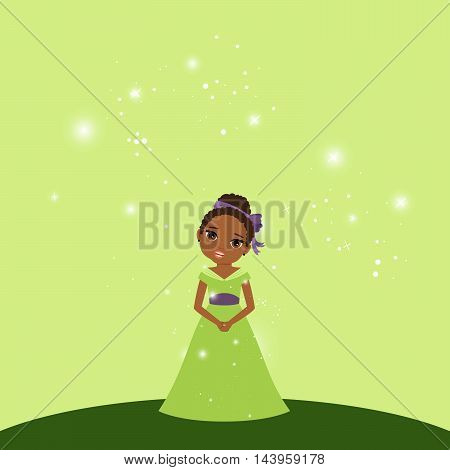 Beautiful cartoon princess with lights on the light green background. Vector illustration