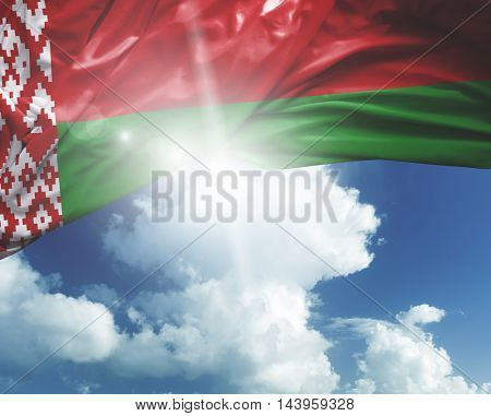 Belarus flag on a beautiful day