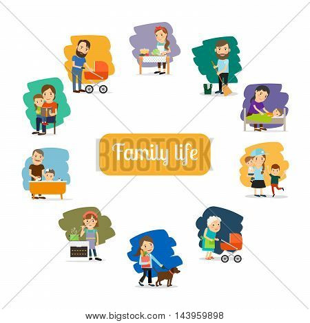Family life and parents care for the child. Vector illustration