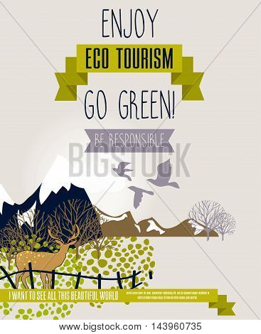 poster for eco tourism with cute landscape, can be used as banner for tourism or advertisement for ecology organization, vector illustration