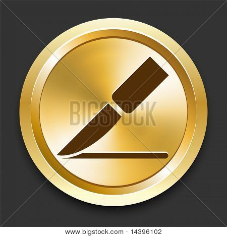 Scalpel on Golden Internet Button Original Illustration