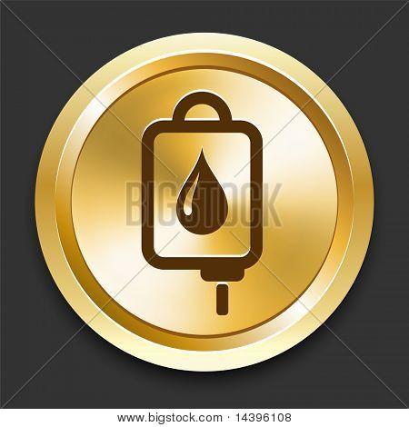 IV bloed Drip op gouden Internet knop originele illustratie