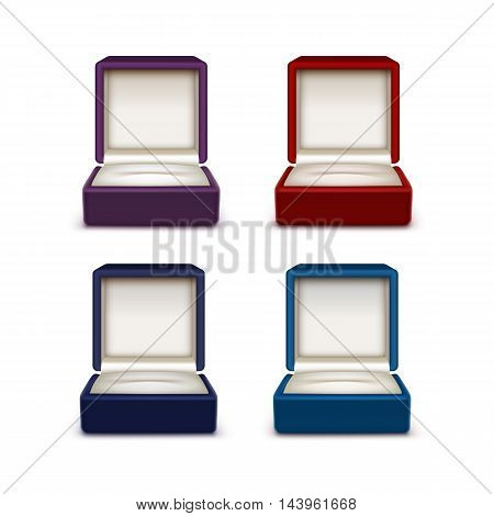 Vector Set of Empty Colored Red Blue and Purple Velvet Opened gift jewelry boxes Close up Isolated on White Background