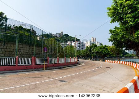 Macao city with road track