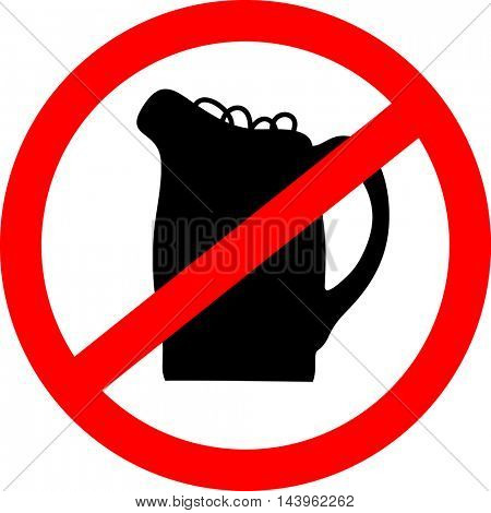No beer sign. Vector illustration with beerglass.