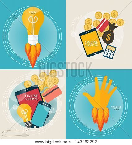 Business concept. Online shopping. Infographics background E-commerce