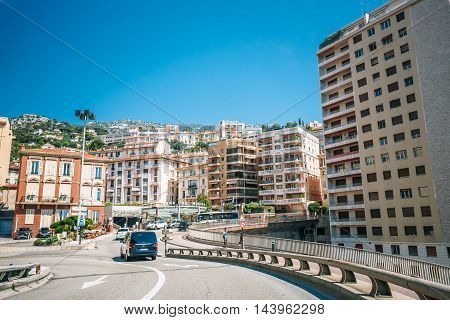 Monte-Carlo, Monaco - June 28, 2015: Traffic on streets of Monaco, Monte Carlo.