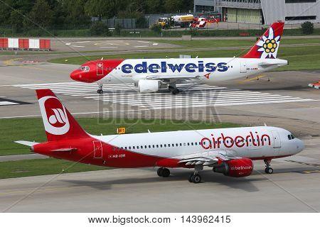 Edelweiss Airbus A320 Air Berlin Airplanes Zurich Airport