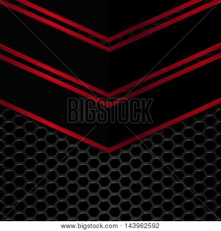 Black and red metal background, Geometric pattern of hexagons with red metal plates