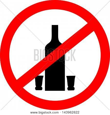 No drinking sign. No alcohol sign isolated on white background.  Vector illustration