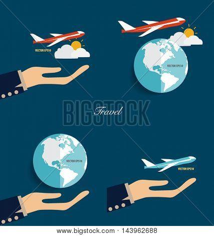 Hands holding modern globe and plane. Vector illustration