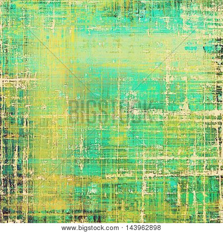 Abstract vintage background with grunge effects, ragged elements, and different color patterns: green; blue; yellow (beige); cyan