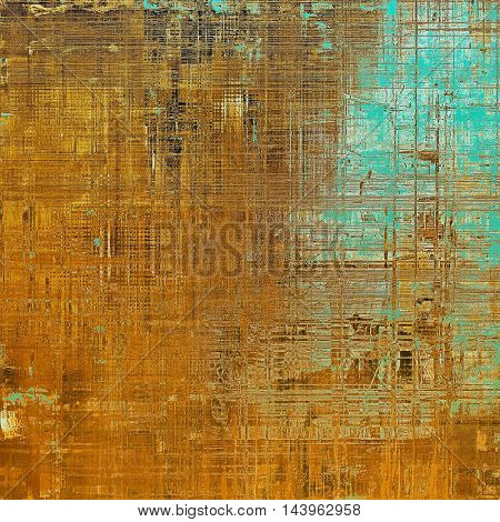 Abstract vintage background with grunge effects, ragged elements, and different color patterns: blue; red (orange); yellow (beige); brown; cyan